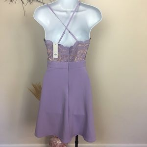 Francesca's Collections Dresses - Purple scalloped lace fit and flare dress. New.